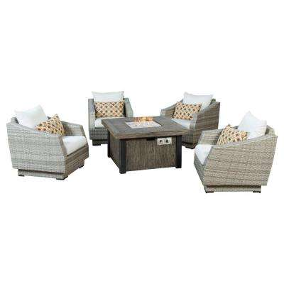 Cannes 5-Piece Patio Fire Pit Seating Set with Moroccan Cream Cushions