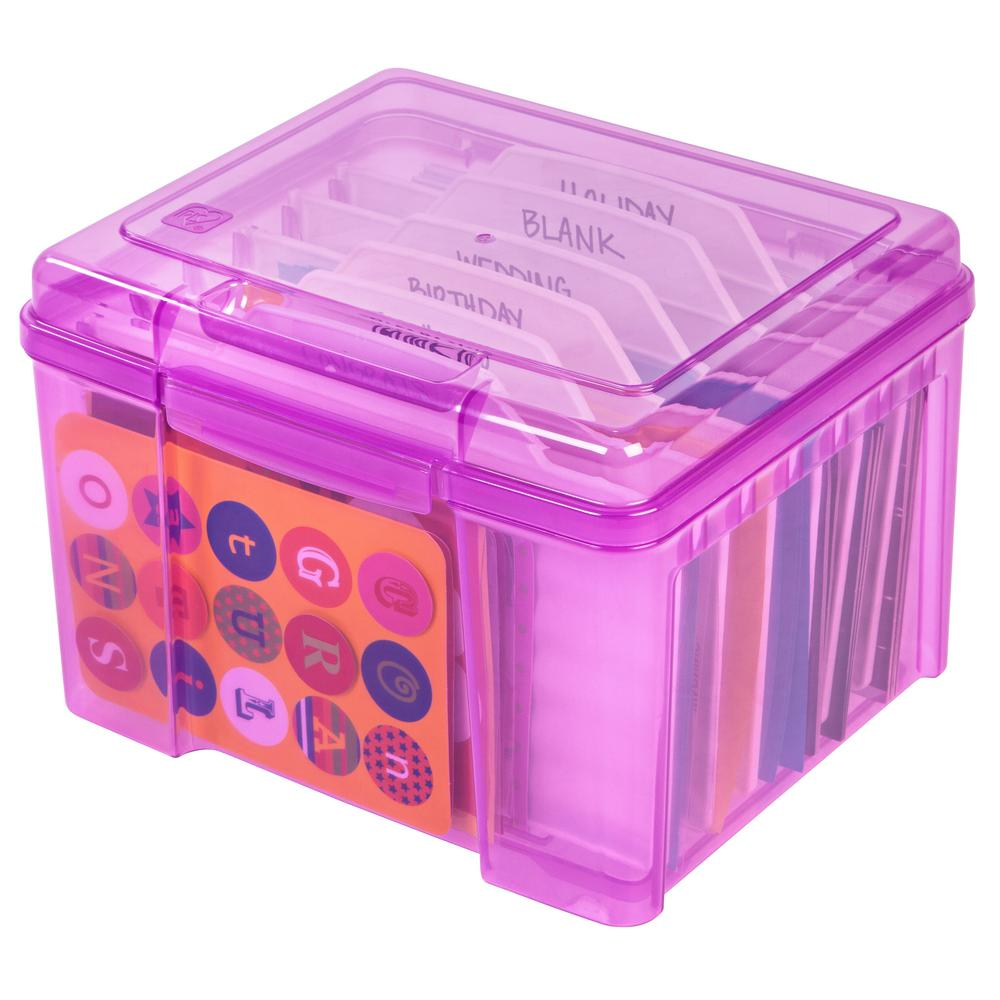 IRIS Purple Greeting Card And Craft Keeper Storage Box