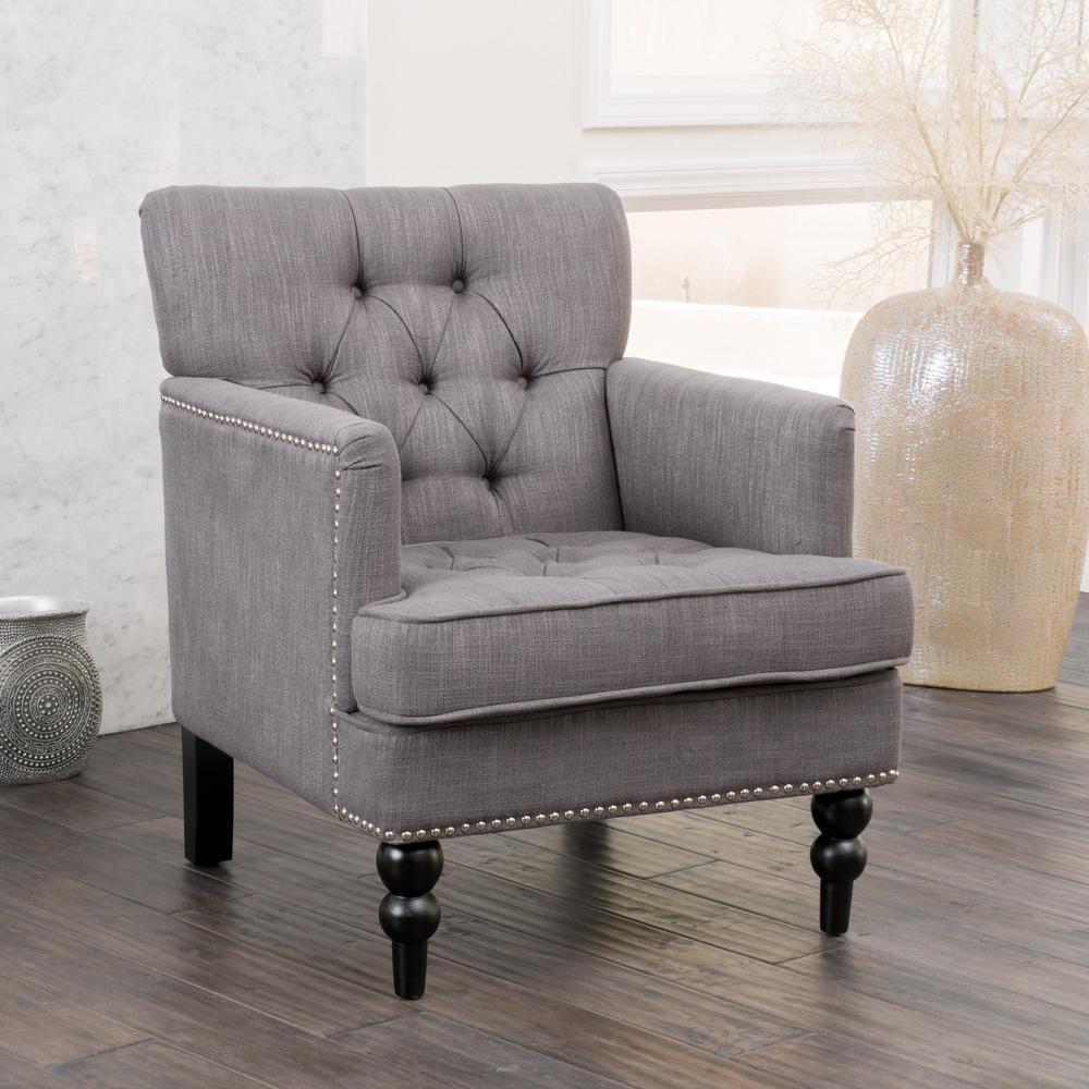 Malone Charcoal Fabric Tufted Club Chair