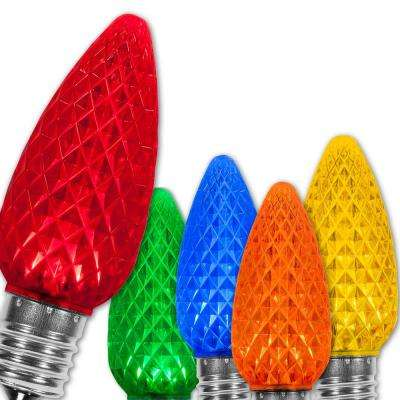 C9 LED Multi-Color Faceted Christmas Light Bulbs (25-Pack)