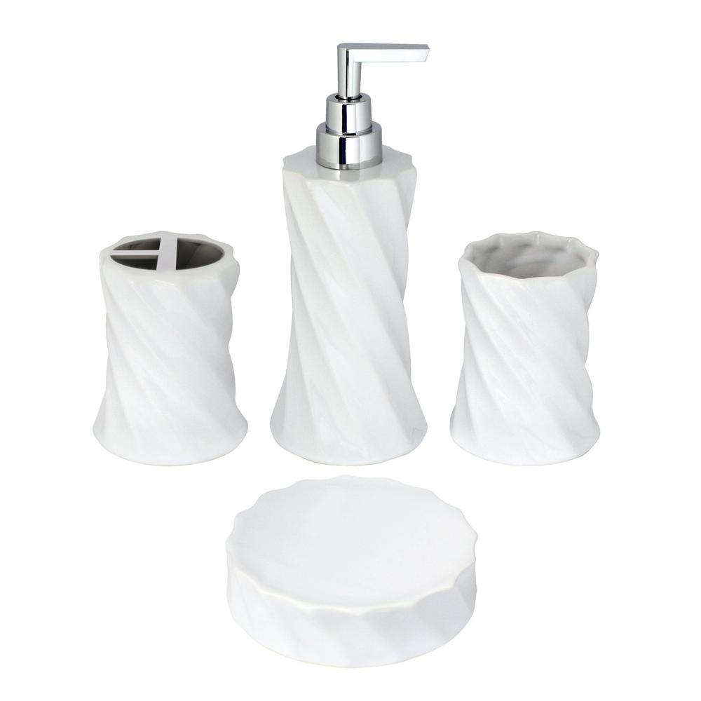Modona Flora 4 Piece Bathroom Accessories Set In White Porcelain And