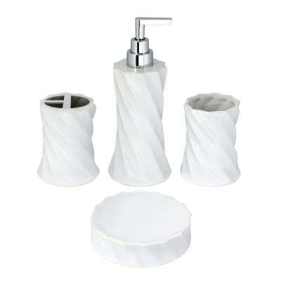 Flora 4-Piece Bathroom Accessories Set in White Porcelain and Polished Chrome