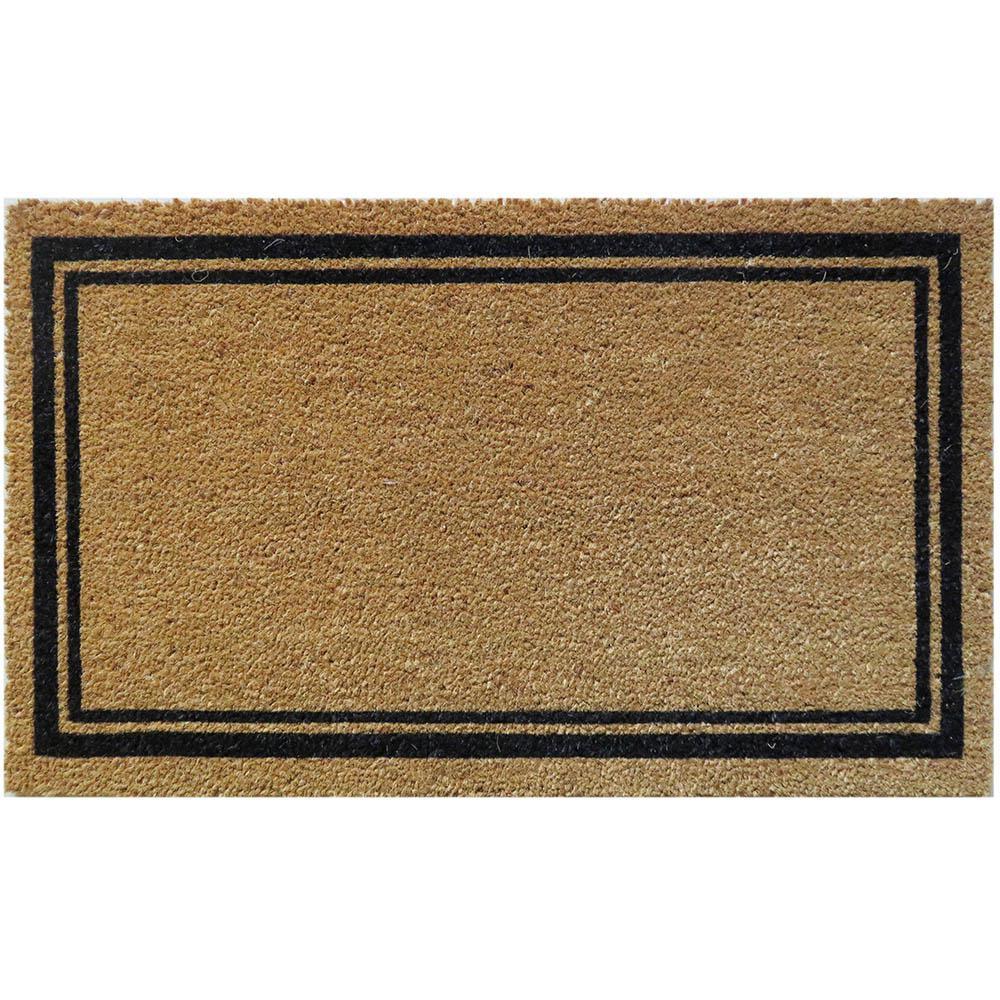 With Border 30 in. x 18 in. Slip Resistant Coir Door Mat