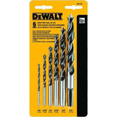 High Speed Steel Brad-Point Drill Bit Set (6-Piece)