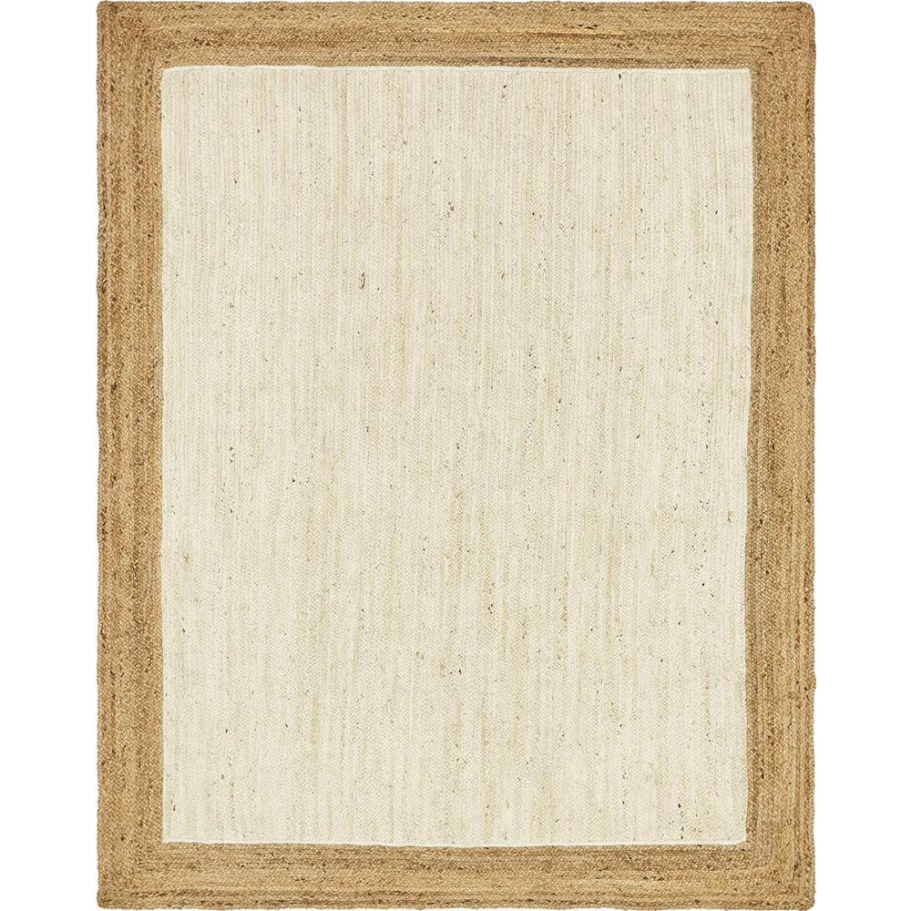 Unique Loom Braided Jute White 8 X 10 Rug 3138924 The