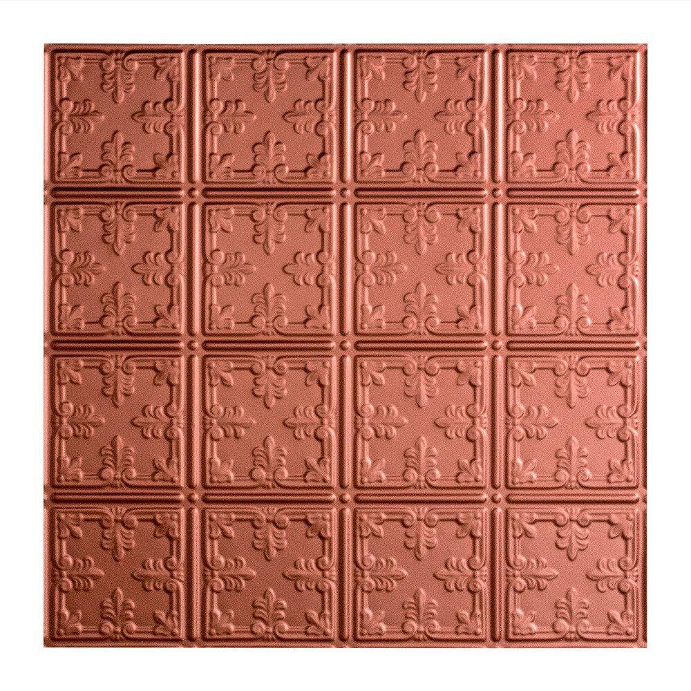 Fasade Traditional 10 - 2 ft. x 2 ft. Lay-in Ceiling Tile in Argent Copper