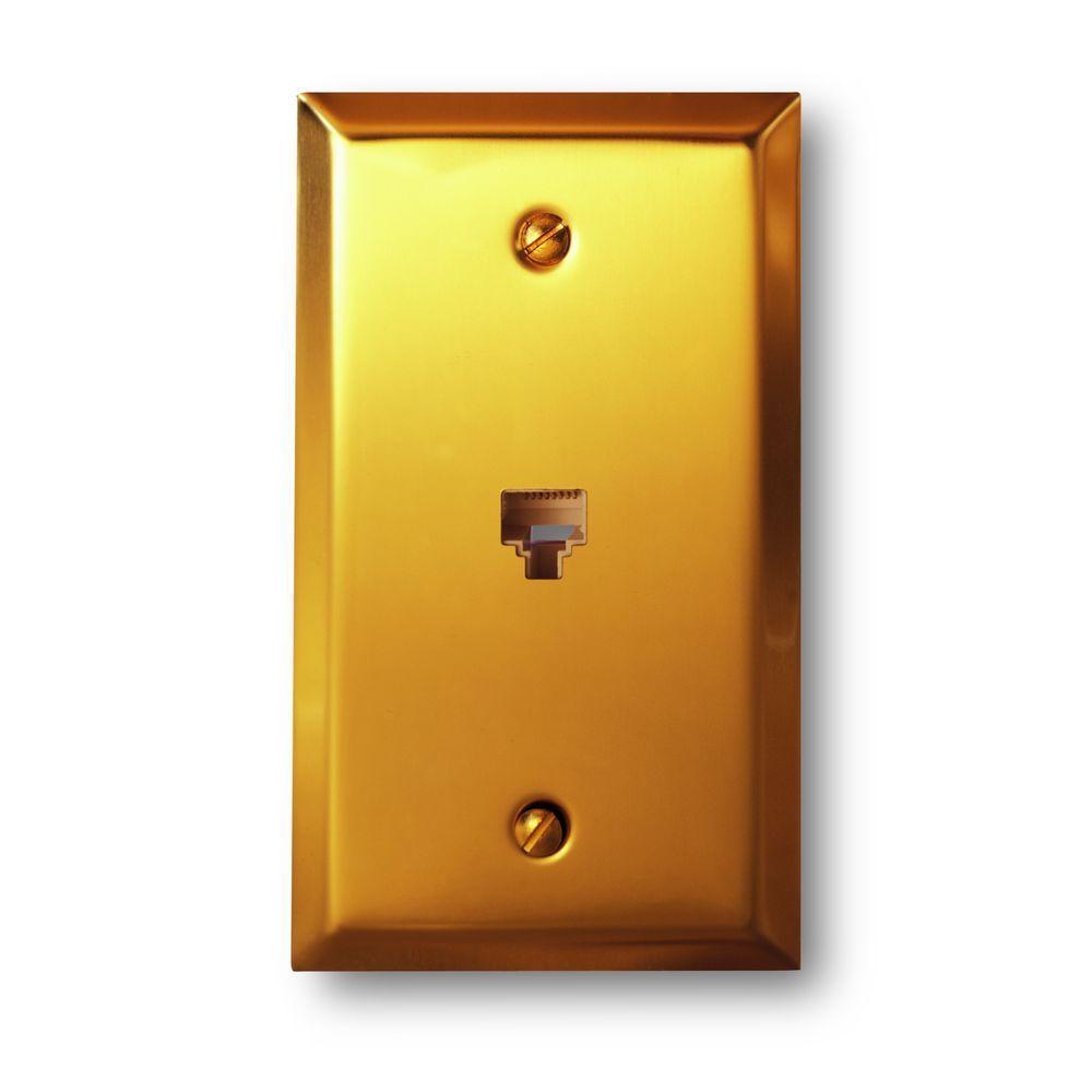 Steel Data Telecom Wall Plate - Bright Brass