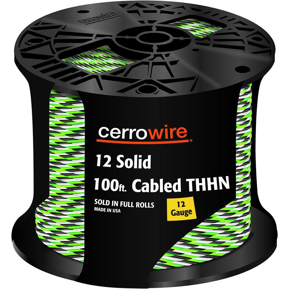 100 ft. 12-3 Black, White and Green Cabled Solid THHN Cable