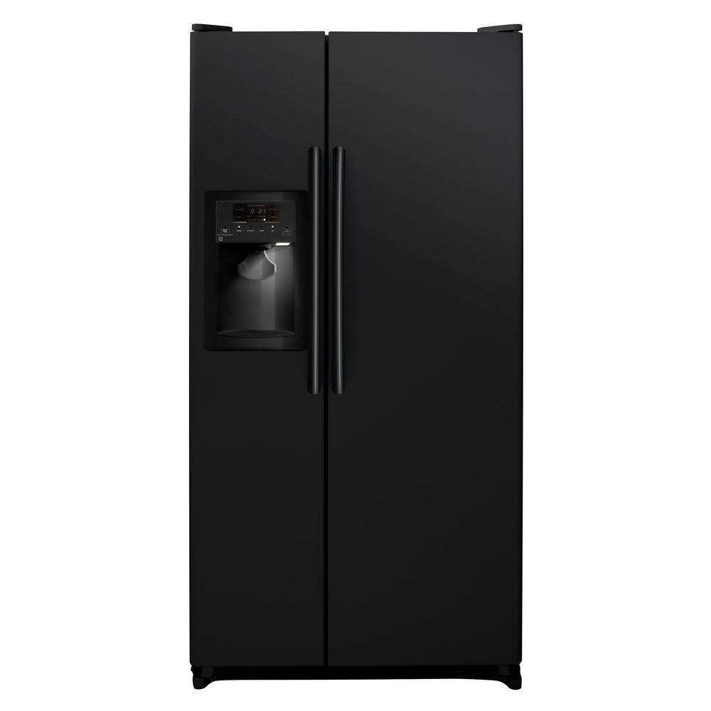 GE 33.5 in. W 21.9 cu. ft. Side by Side Refrigerator in Black