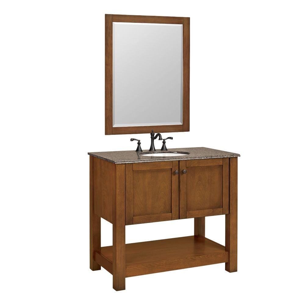 null Palisades 37 in. W x 20.5 in. D White Basin Vanity in Bourbon Cherry w/Granite Vanity Top in Beige & Mirror