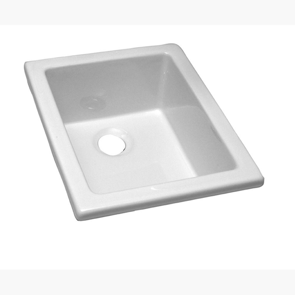 Drop-In Fire Clay Bathroom Sink in White