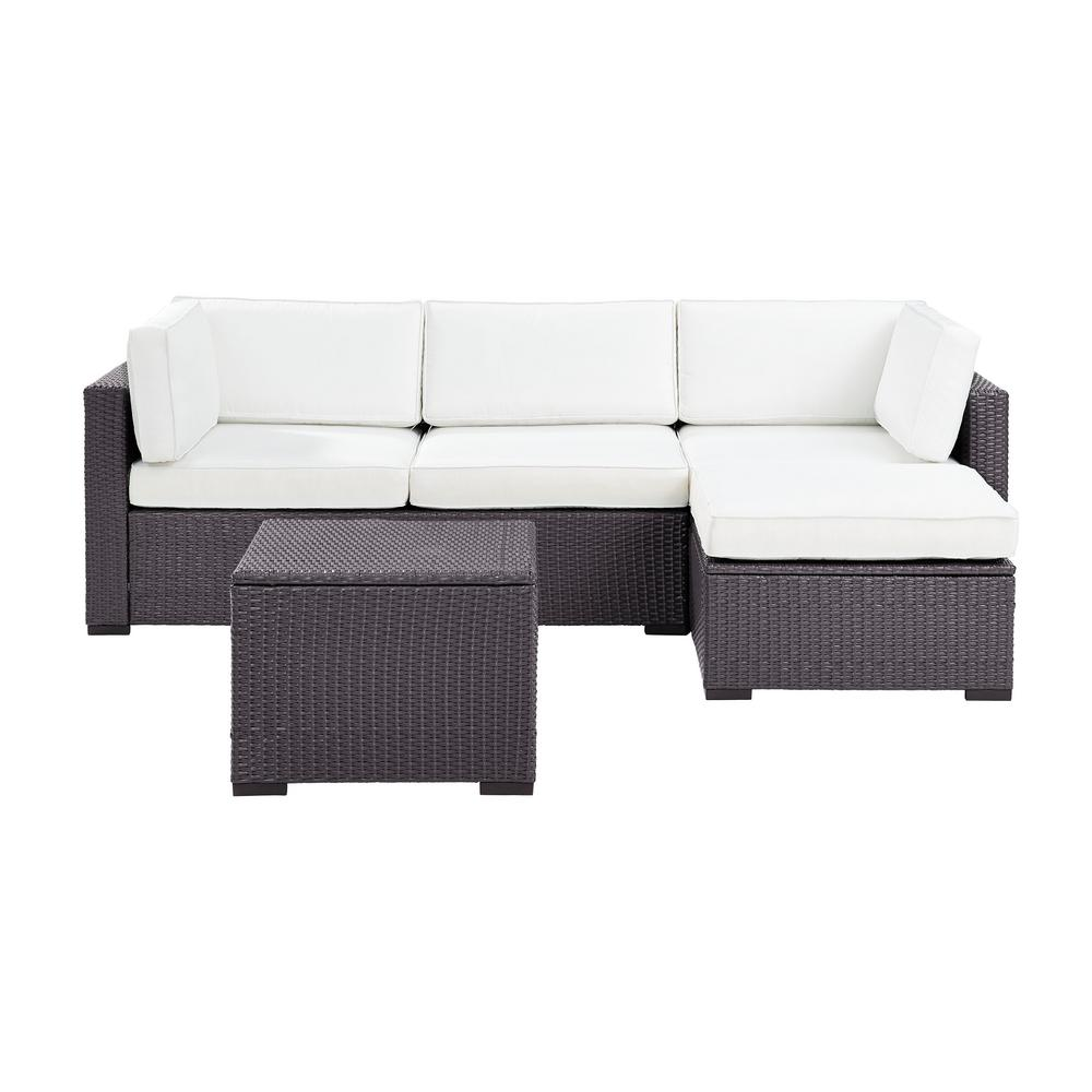 Crosley Biscayne 4 Piece Wicker Outdoor Sectional Set with Sunbrella White Cushions