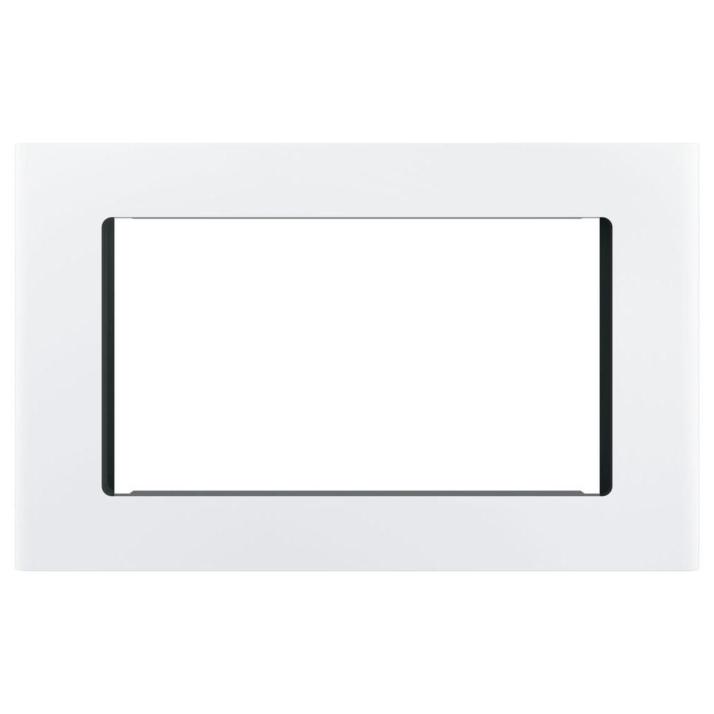 GE Microwave Optional 27 in. Built-In Trim Kit in White Get a custom appearance for your microwave with the GE Built-In 27 in. Microwave Trim Kit in Stainless Steel. With a timeless look, this trim kit is ideal for the home or office to be enjoyed for years and years to come. It is intended for the GE 2.0 or 1.8 cu. ft. microwave oven. Color: White.