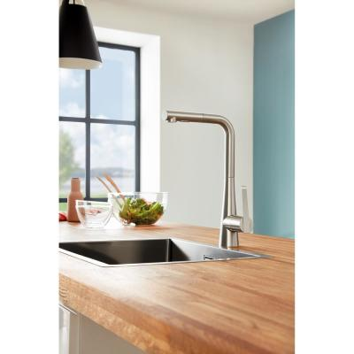 LadyLux Single-Handle Pull-Out Sprayer Kitchen Faucet with Single Hole in SuperSteel Infinity Finish
