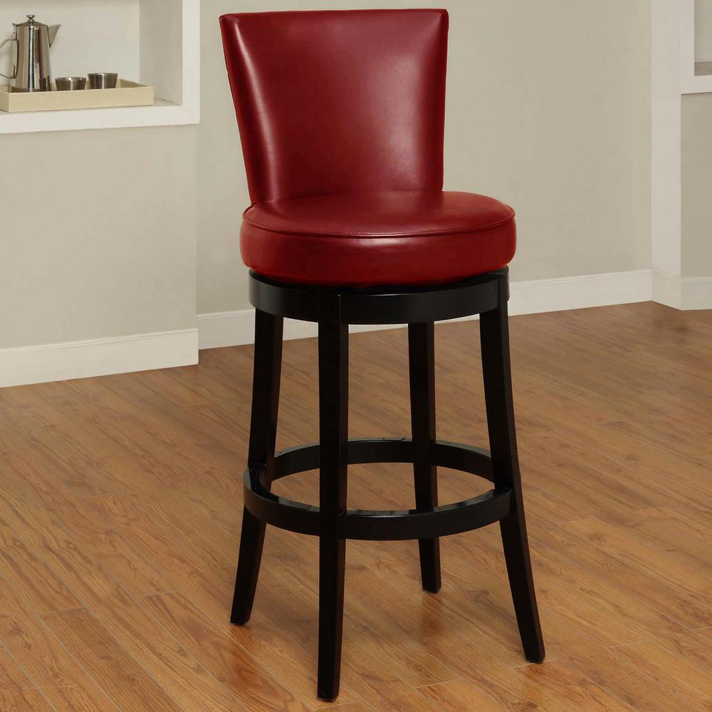Armen Living Boston 30 In Red Bonded Leather And Black Wood Finish Swivel Barstool