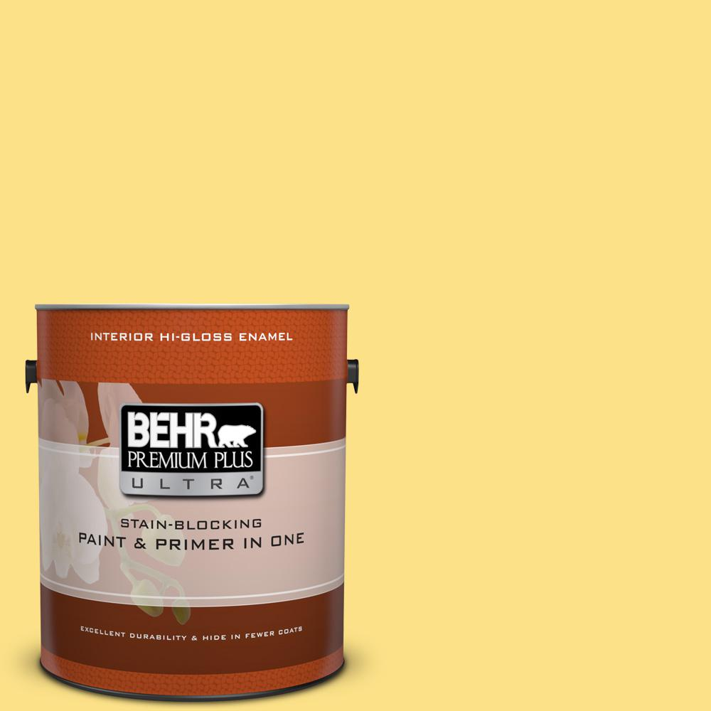 1 gal. #380B-4 Daffodil Yellow Hi-Gloss Enamel Interior Paint