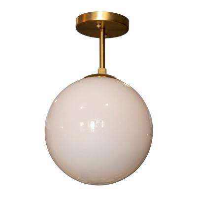 Michael 1-Light Antique Brass with Milk Glass Semi Flush Mount Ceiling Light