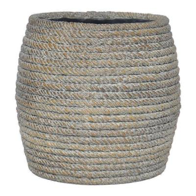 14.5 in. White Washed Brown Faux Woven Planter