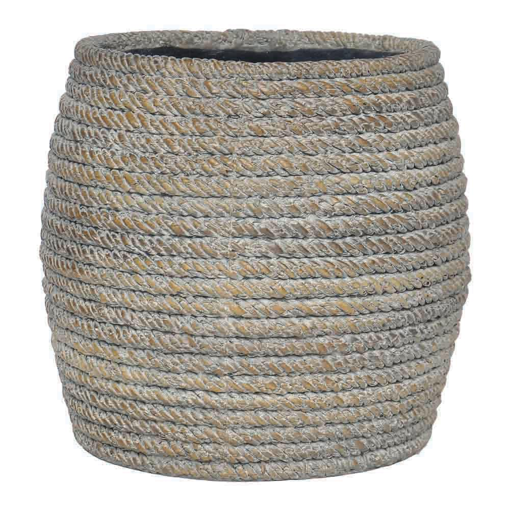 14.5 in. D White Washed Brown Faux Woven Planter