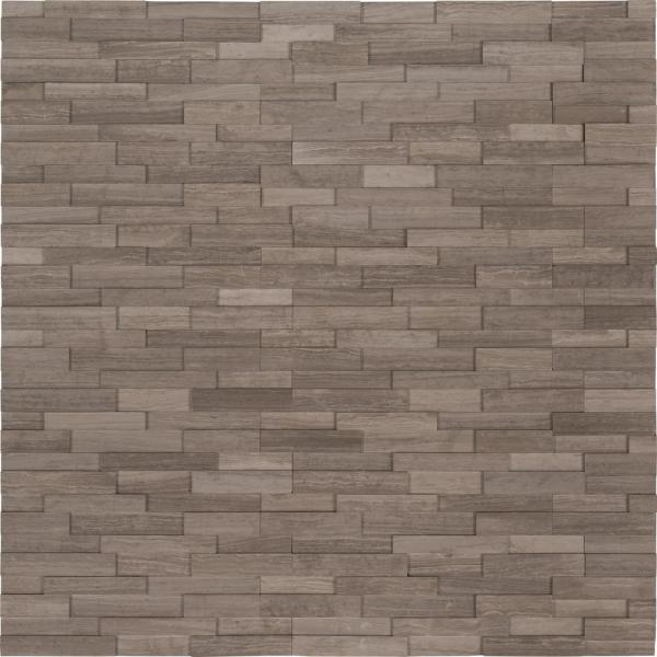 Gray Oak 3D Mini Ledger Panel 4.5 in. x 16 in. Honed Marble Wall Tile (5 sq. ft./case)