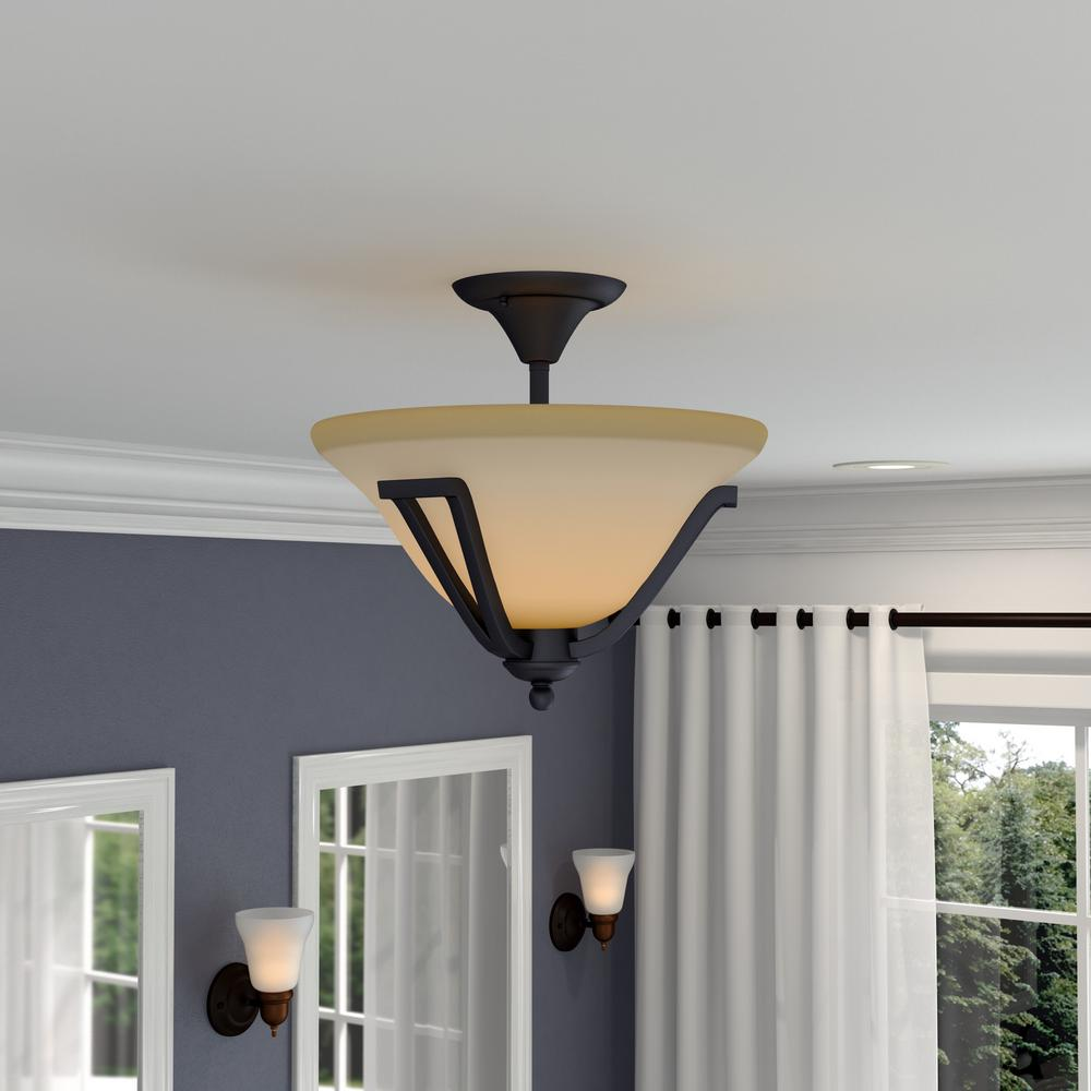 Commercial Electric 2-Light Rustic Iron Semi-Flush Mount Light