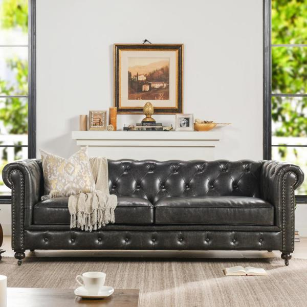 Winston Leather Tufted Chesterfield Sofa, Vintage Black Brown Faux Leather