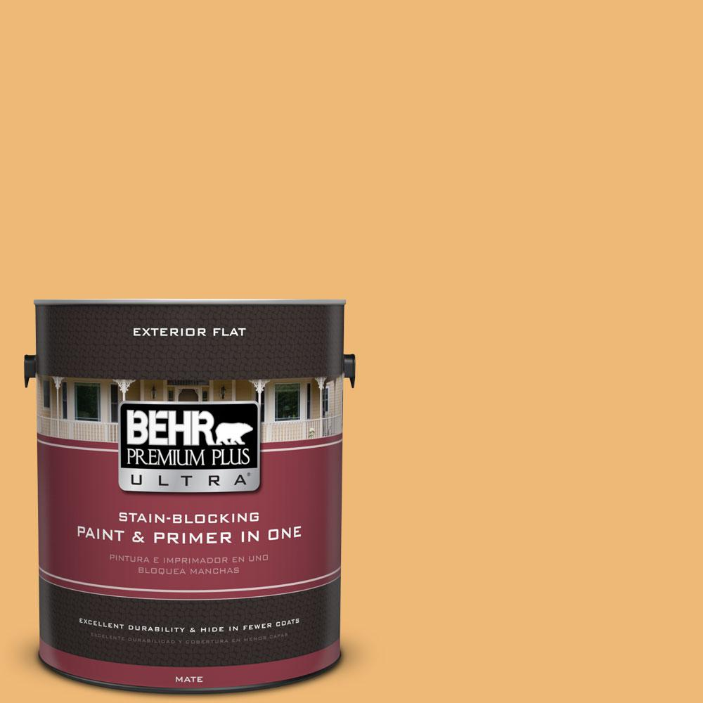 BEHR Premium Plus Ultra 1-gal. #bic-29 Kernel Flat Exterior Paint, Yellows/Golds