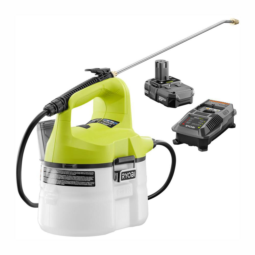 RYOBI ONE+ 18-Volt Lithium-Ion Cordless Chemical Sprayer - 1.3 Ah Battery and Charger Included