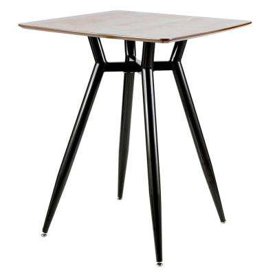 Clara Black Metal and Walnut Wood Square Counter Height Dining Table