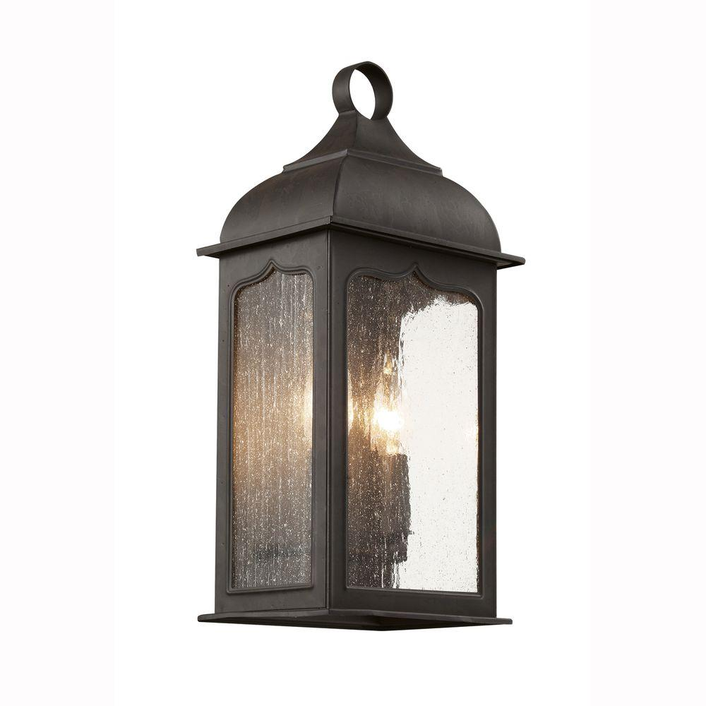 Bel Air Lighting Candle Box 2 Light Oiled Bronze Patio Wall Lantern With  Seeded Glass 40230 ROB   The Home Depot