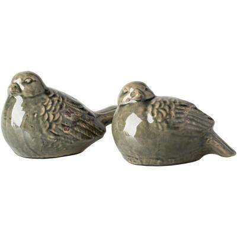 Ageo Decorative Bird Sculpture in Olive Set of 2