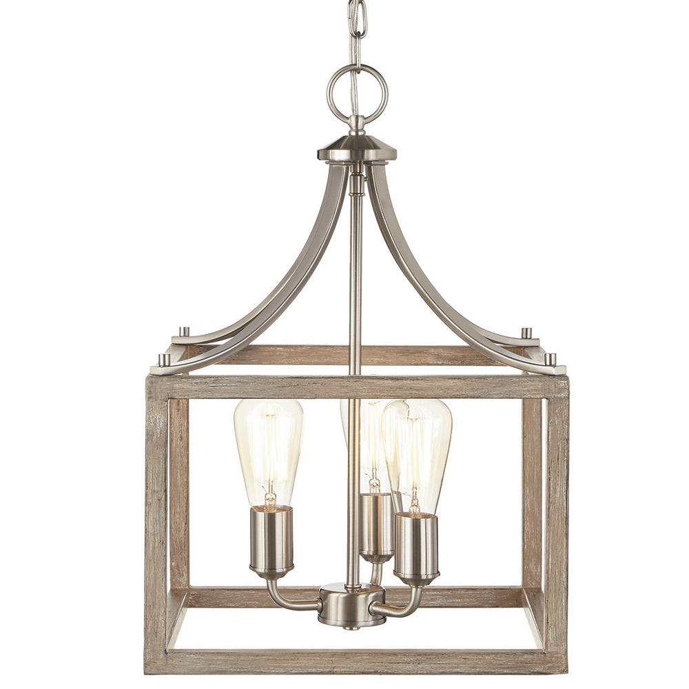 boswell quarter collection 3 light brushed nickel pendant with painted weathered gray wood accents - Brushed Nickel Dining Room Light