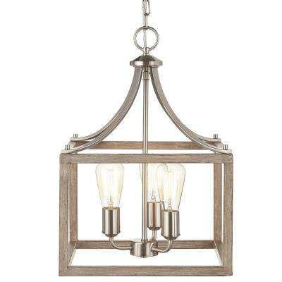 Boswell Quarter Collection 3-Light Brushed Nickel Pendant with Painted Weathered Gray Wood Accents