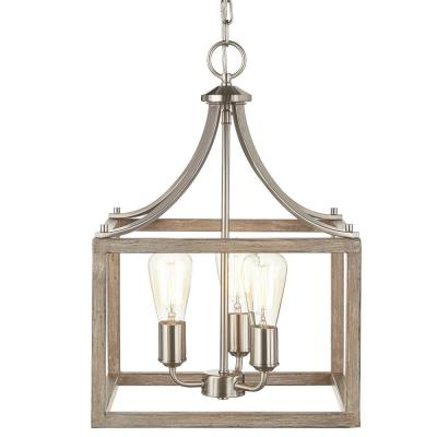 Boswell Quarter 14 in. 3-Light Brushed Nickel Chandelier with Painted Weathered Gray Wood Accents