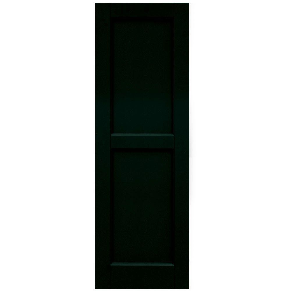 Winworks Wood Composite 15 in. x 46 in. Contemporary Flat Panel Shutters Pair #654 Rookwood Shutter Green