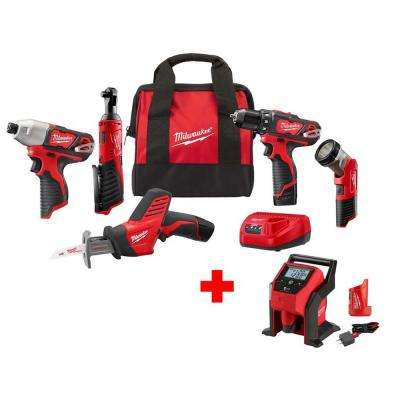 M12 12-Volt Lithium-Ion Cordless Combo Kit (5-Tool) with M12 Inflator Kit