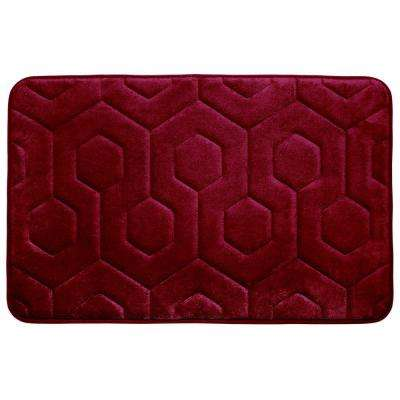 Hexagon Red 20 in. x 34 in. Memory Foam Bath Mat