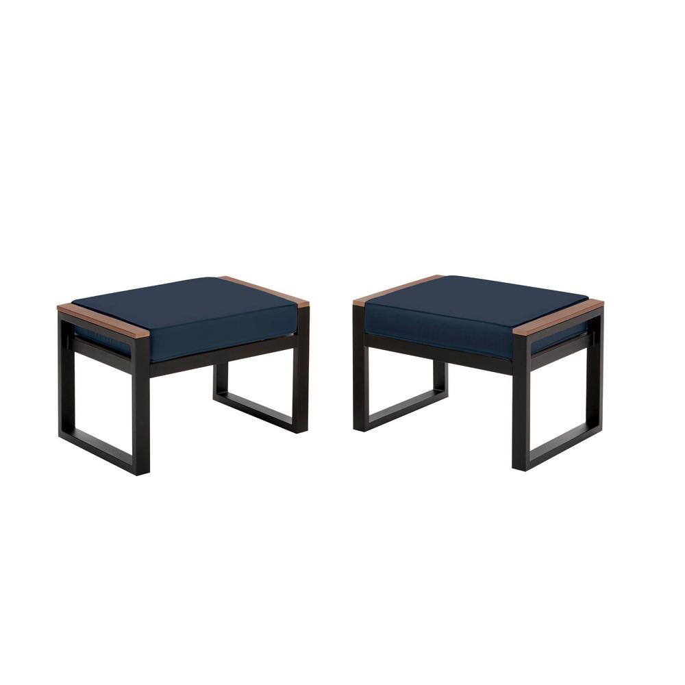 West Park Black Aluminum Outdoor Patio Ottoman with CushionGuard Midnight Navy Blue Cushion (2-Pack)