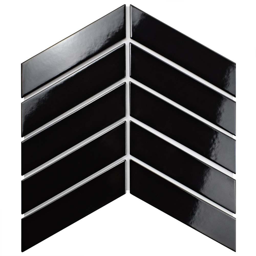 Black porcelain tile tile the home depot metro soho chevron glossy black dailygadgetfo Choice Image