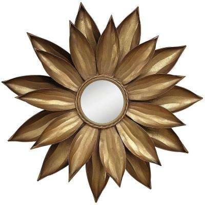 35.25 in. x 3.25 in. Petals Framed Wall Mirror in Gold