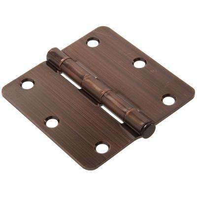 3-1/2 in. Antique Bronze Residential Door Hinge with 1/4 in. Round Corner (9-Pack)