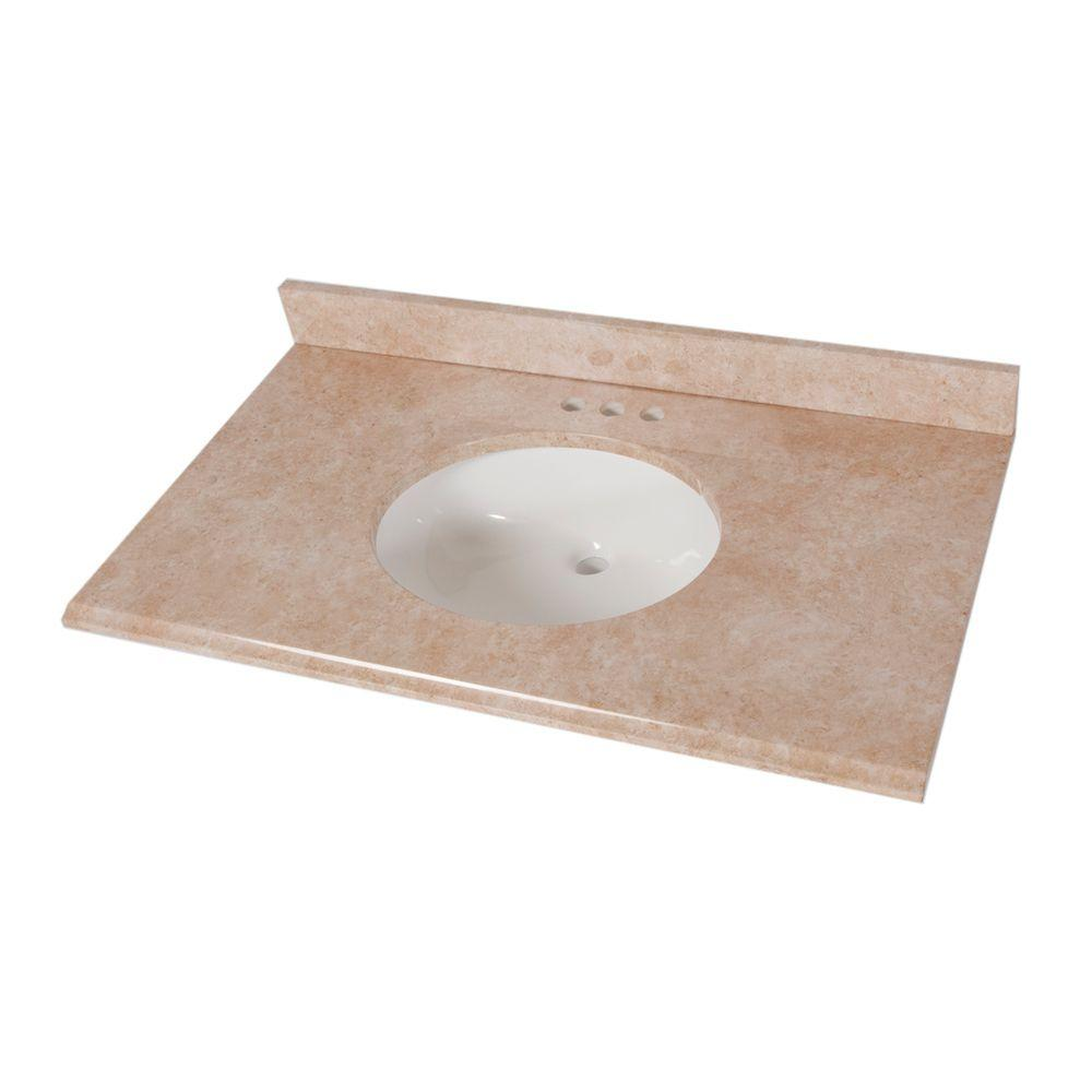 Home Decorators Collection 37 In Stone Effects Vanity Top Oasis With White Basin