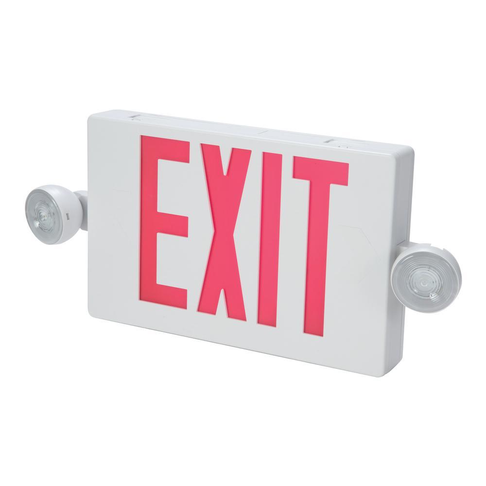 Lithonia Lighting 2 Light Plastic Led White Exit Signemergency