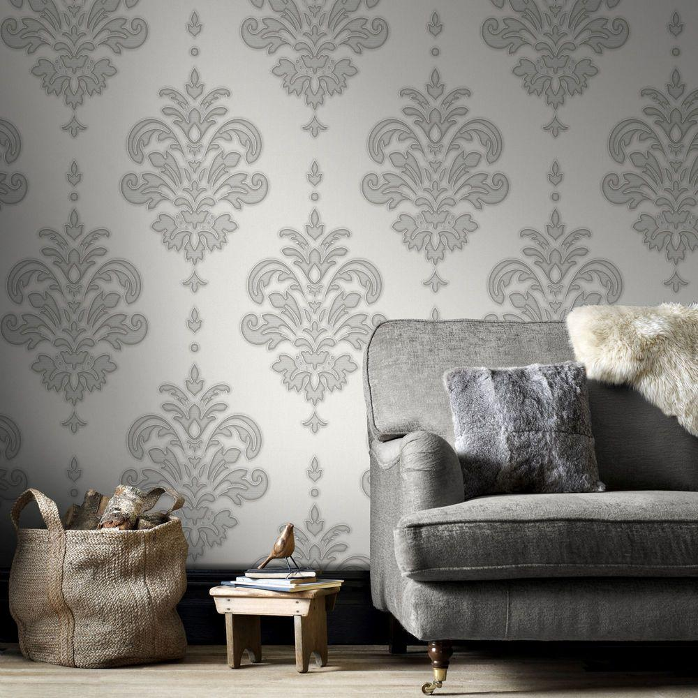 wallpaper for living room wall. Grey and White Olana Wallpaper  Borders The Home Depot