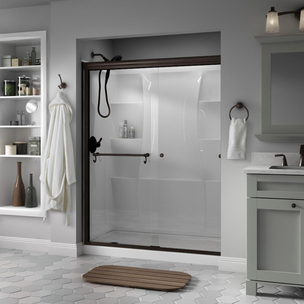 Delta Portman 60 in. x 70 in. Semi-Frameless Traditional Sliding Shower Door in Bronze with Clear Glass was $407.46 now $319.0 (22.0% off)
