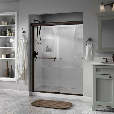 Portman 60 in. x 70 in. Semi-Frameless Traditional Sliding Shower Door in Bronze with Clear Glass