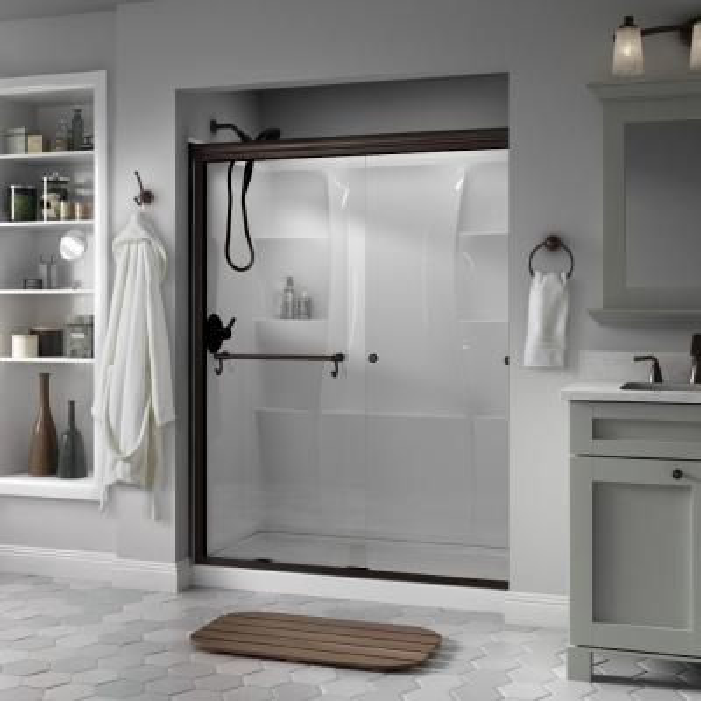 Portman 60 in. x 70 in. Semi-Frameless Traditional Sliding Shower Door in Bronze with Niebla Glass