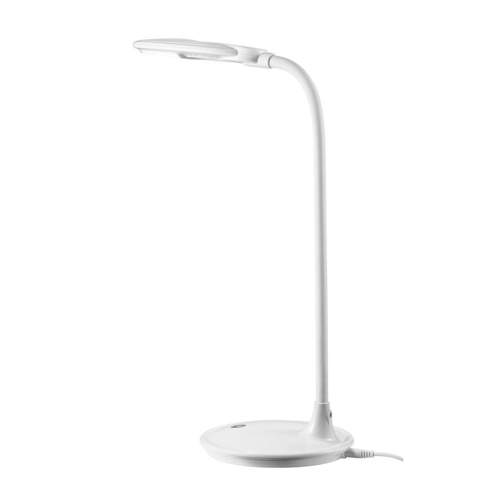 16.5 in. White LED Desk Lamp with Magnifier