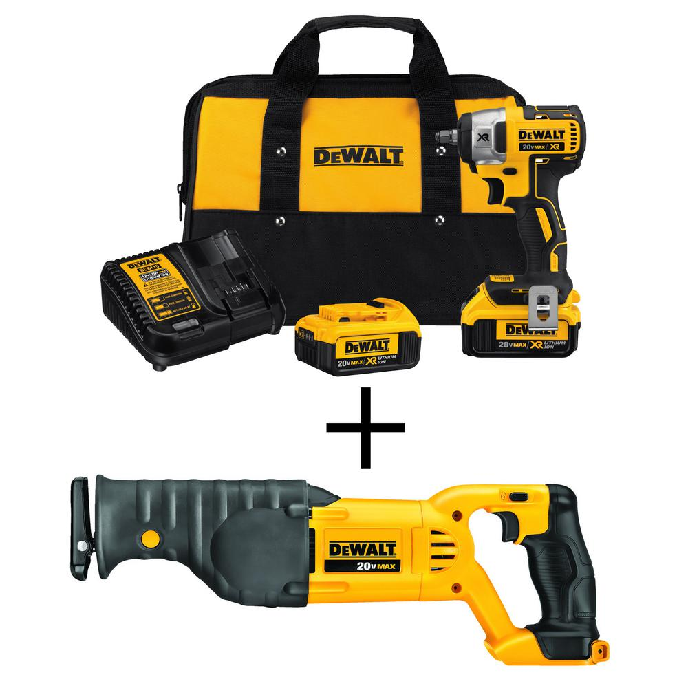 DEWALT 20-Volt MAX XR Lithium Ion Cordless 3/8 in. Brushless Impact Wrench Kit with Bonus 20-Volt MAX Recip Saw (Tool-Only)