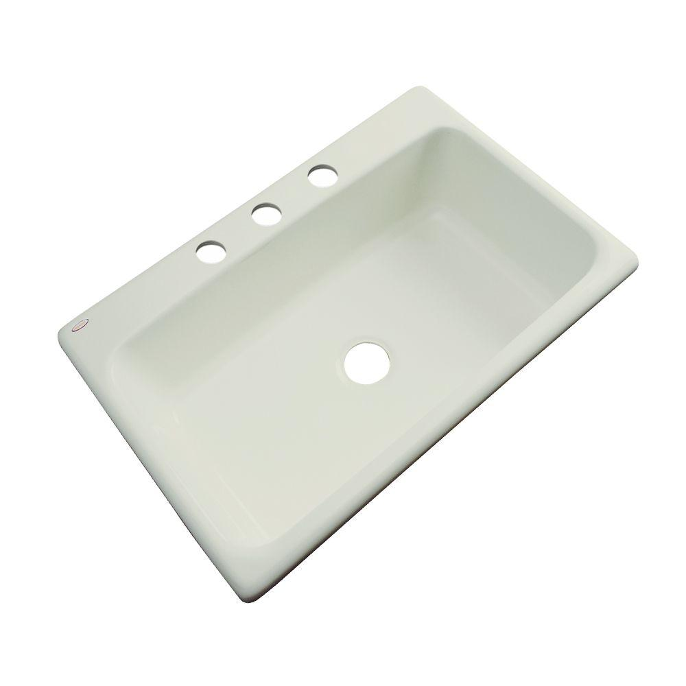 Thermocast Manhattan Drop-In Acrylic 33 in. 3-Hole Single Bowl Kitchen Sink in Jersey Cream